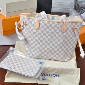 lv louis vuitton neverfull azure with matting wallet white