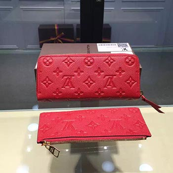 louis vuitton CLEMENCE WALLET red leather