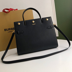 burberry mini leather two-handle title bag