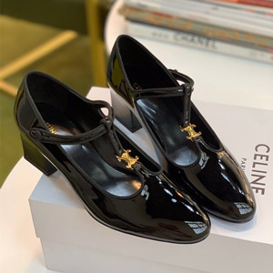 celine babies t-bar pump in patent calfskin shoes