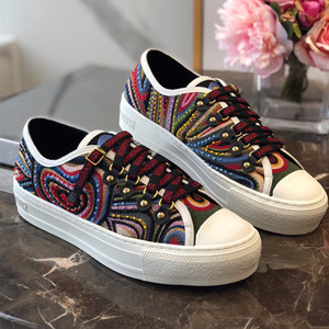 christian dior walk`n`dior sneaker in embroidered patchwork fabric shoes