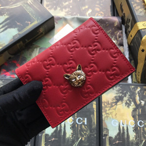 gucci signature card case wallet with cat #548057