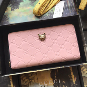 gucci signature zip around wallet with cat #548058