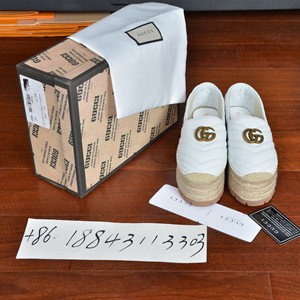 gucci leather espadrille shoes with double g