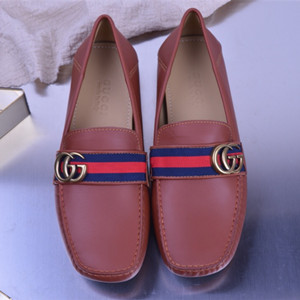 gucci leather loafer with gg web shoes for men