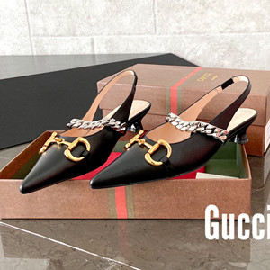 gucci women's leather pump with horsebit shoes