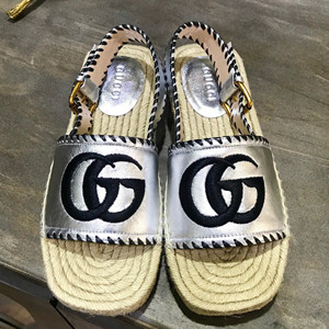 gucci metallic leather espadrille sandal shoes