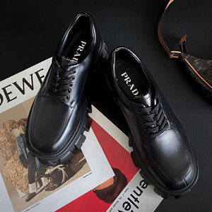 prada monolith brushed calf leather lace-up shoes