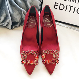roger vivier silk flower strass pumps shoes