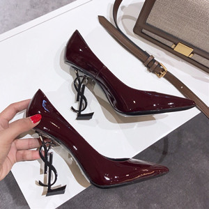 ysl saint laurent opyum 100 pumps in leather and metal