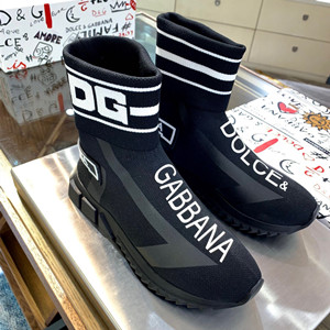 dolce & gabbana sorrento high-top sneakers shoes in stretch mesh with logo