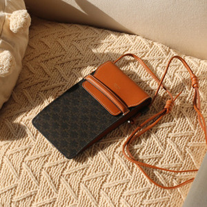 celine phone pouch triomphe canvas and lambskin