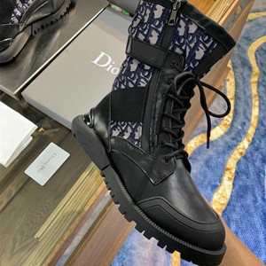 dior oblique and black calfskin boots shoes