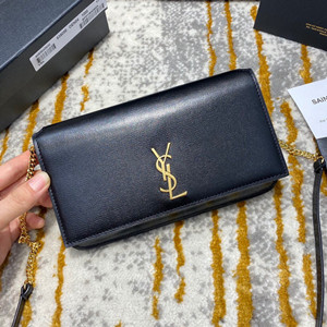 ysl yves saint laurent monogram phone holder with strap smooth leather #635096