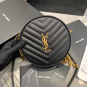 ysl yves saint laurent vinyle round camera bag in chevron-quilted grain de poudre embossed leather #610436